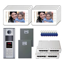 """Apartment Access Door Entry Video Intercom Kit System with (8) 7"""" Color Monitors"""
