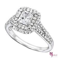 1.12ct Radiant cut Diamond Engagement Halo Ring Split Band 18k White Gold