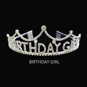 New Birthdaygirl Clear Rhinestone Tiara Crown Headband Happy Birthday Jewelry
