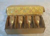 "Set of 4 Gorgeous Crown Gold Port Stemware 3.25""T x 1.75""D NIB"