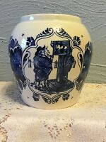 VTG VAN ROSEM'S TOEBACK ANNO 1750 BLUE & WHITE DELFTS TOBACCO JAR HUMIDOR