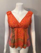 Stunning Bandolino Orange Pink Print Silk Top Size 10