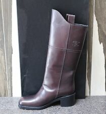 NIB CHANEL MOTORCYCLE BIKER SQUARE TOE WYOMING LEATHER PULL UP BOOTS Shoes 37.5