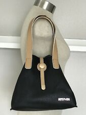 Kenneth Cole Reaction Black Tan Small Bucket Faux Leather Handbag Bag