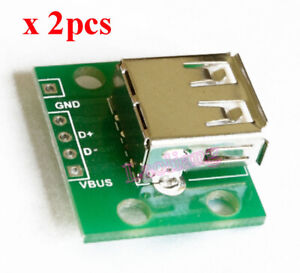 2PCS USB Flat 4P To DIP Adapter Converter For 2.54mm PCB Board DIY Power Supply