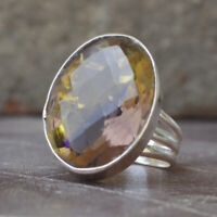 Oval Faceted Ametrine Quartz Gemstone Sterling Silver Ring Jewelry