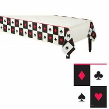 Large Casino Night Poker Card Vegas Red Black Tablecloth Cover Birthday Party