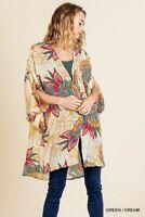 Umgee Tropical Print Split Sleeve Kimono S/M M/L
