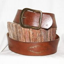 "Vintage brown Leather Belt size 32"" & 1¾"" w solid brass buckle"