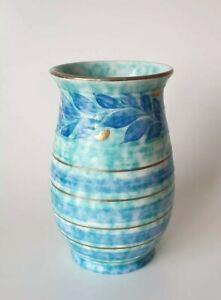 Charlotte Rhead for Crown Ducal Trailing Leaves Vase Blue Gold