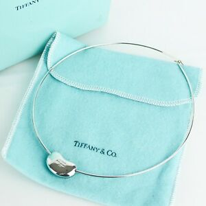 TIFFANY & CO. Elsa Peretti Bean Design Wire Necklace Choker Sterling Silver 925