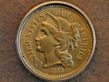 1868 Copper Nickel 3 cent piece AU58 Details ANACS