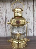 Brass Anchor Oil Lamp ~ Nautical Maritime Ship Lantern ~ Boat Light