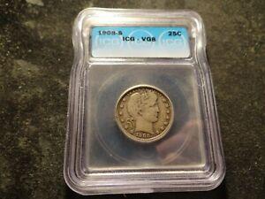1908-S ICG VG 8 Barber Quarter Looks  SLABZ T2X