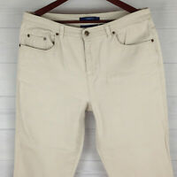 Bill Blass Womens Size 12 Stretch Solid Ivory Cream Slightly Tapered Mom Jeans