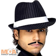 9067b670ff Deluxe Trilby Hat Black   White Pinstripe Mens Fancy Dress Gangster Costume  Acc