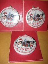 New THREE 1989 WALT DISNEY WORLD ORNAMENT very merry christmas parade mickey