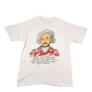 90s Vintage ALBERT EINSTEIN THAT'S RELATIVITY Mens T Shirt Large   Single Stitch