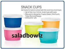 TUPPERWARE New SNACK CUPS set of 5 FIVE 4 oz/120 mL in SUMMER colors! fREEsHIP!
