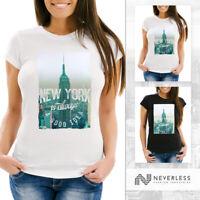 Damen T-Shirt New York Skyline Foto Print Slim Fit Neverless®