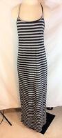 Rewind Women's Black & Gray Jersey Knit Striped Lace Racerback Maxi Dress Sz M