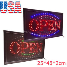 �Us】Attractive Led Light Flash Motion Business Open Sign W/Chain Switch Bar Café