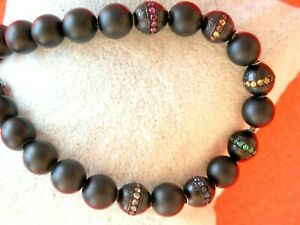 "David Yurman SSilvr Spiritual Bead Rainbow Sapphire 8mm Black Onyx Bracelet 8.5"""