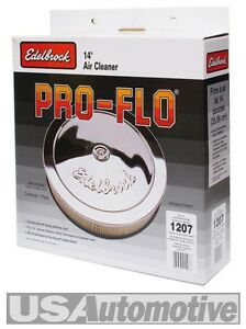 EDELBROCK 1207 PRO-FLO CHROME 14 X 3 AIR CLEANER FILTER HOLLEY EDL1207