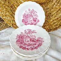 6 pcs Vintage Taylor Smith & Taylor Pink Castle Saucers Dessert Bowls TS&T USA