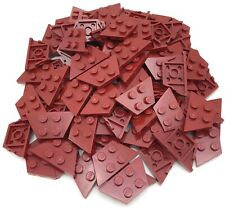 Lego 100 New Dark Red Wedge Plates 2 x 4 Dot Pieces
