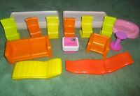 VINTAGE Barbie A Frame Dreamhouse Furniture Lot Chairs Sofa Couch Computer Beds