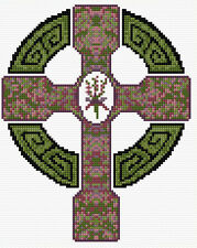 "Celtic Cross + HEATHER, Scottish Mini Cross Stitch Kit 6.5"" x 8"" - 14 Count Aida"