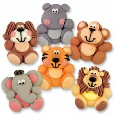 Sugar Animal Toppers laying flat for Kids Cakes or Cupcakes - set of 12
