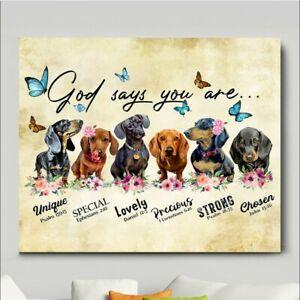 Dachshund god says you are pet memorial gift wall art horizontal premium poster