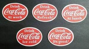 Coca Cola Lot of 5 Vintage Oval Cardboard Coasters - 1952 - NOS