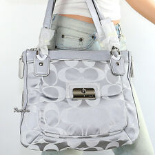 NWT Coach Kristin Signature Shoulder Bag Hand Bag Tote 18301 Silver New RARE