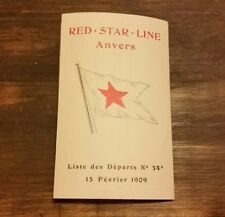 ANTIQUE (1909) RED STAR LINE NEW YORK SAILING DATES TIME TABLE BROCHURE RARE