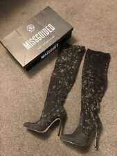Miss Guided Glitter Over The Knee Sock Boot Size 7