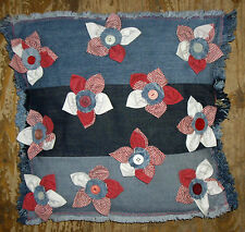 Floral Cushion Cover, Handmade Denim  Patchwork Buttons, Flowers Cushion Cover