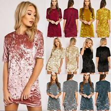Women Fashion Velvet Short Sleeve T-Shirt Tops Summer Party Casual Mini Dress LG