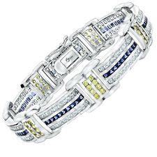 "Men's Solid Sterling Silver .925 CZ Stones Hip Hop Iced Bracelet 8"" 9"" /Gift Box"
