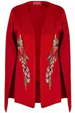 Ladies Open Front Placket Shawl Rose Embroidered Womens Oversized Coat Cape Top