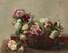 Latour Fantin Henri Basket Of Roses Canvas 16 x 20  #2163