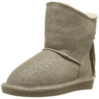 Bearpaw Girls Toddler Mia Genuine Sheepskin Lined Suede Pull On Winter Boots