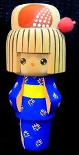 Charming vintage Japanese Hand Painted Wooden Kokeshi Dolls Cobalt Blue Kimono