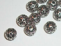 8mm Antique silver pewter carved spacer beads -- 40 pieces (02304)