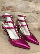 NIB Valentino Rockstud Hot Pink Metallic Stud Strap Kitten Heel Pump 39 $1045