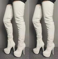 Women High Heels Over Knee Boots Platform Side Zip Casual White Stage Show Shoes