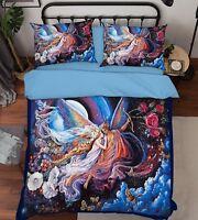 3D Angel Couple 47 Bed Pillowcases Quilt Duvet Cover Set Single Queen King Size