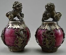 A pair of China Miao silver dragon phoenix kirin red jade paperweight statue